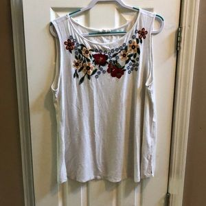 Embroidered Floral Tank 1X